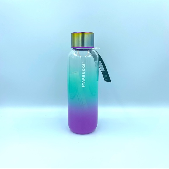 Starbucks 21 Summer Teal Purple Glass Water Bottle